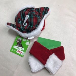Cat Trapper Hat Scarf Plaid Pet Christmas Holiday